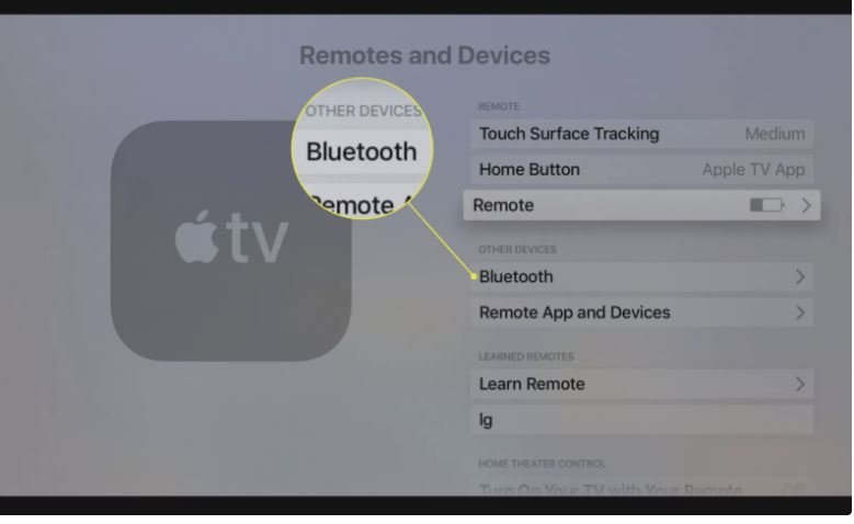 Select Bluetooth from the Remotes and Devices Section